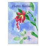 Aceo rojo de la flor del amor tarjeta de felicitación