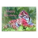 Aceo rosado del tigre felicitación