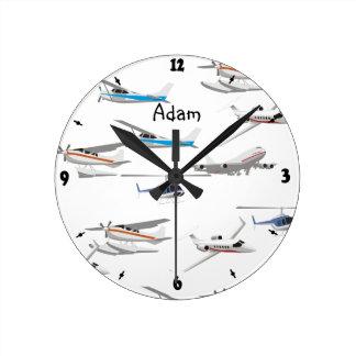 Acepilla los aeroplanos reloj redondo mediano