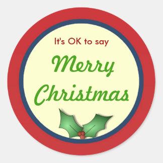 ACEPTABLE decir al pegatina de las Felices Navidad