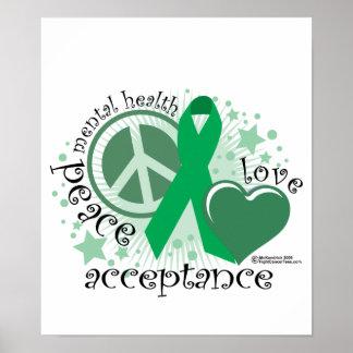 Aceptación del amor de la paz de la salud mental póster