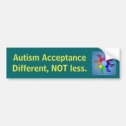 Aceptación diferente, NO menos del autismo Etiqueta De Parachoque