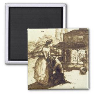 Aceptadas, 1853 (pluma y tinta marrón en el papel) imán cuadrado