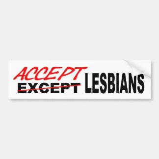 Acepte a las lesbianas pegatina para auto