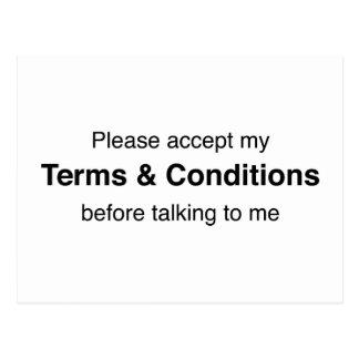 Acepte por favor mis términos y condiciones postal