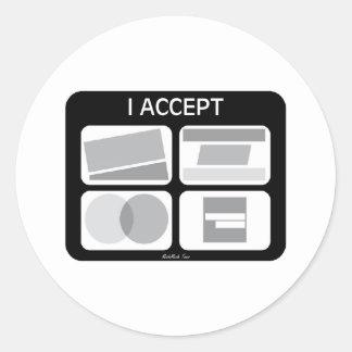 Acepto tarjetas de crédito pegatina redonda