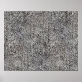 Acera gris resistida del cemento póster