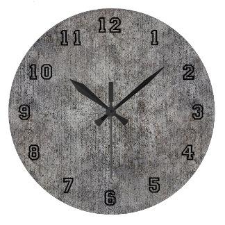 Acera gris resistida del cemento reloj redondo grande
