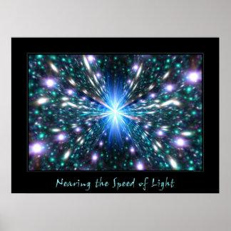 Acercamiento de la velocidad de la luz posters