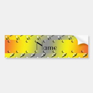 Acero amarillo conocido personalizado de la placa  pegatina para auto