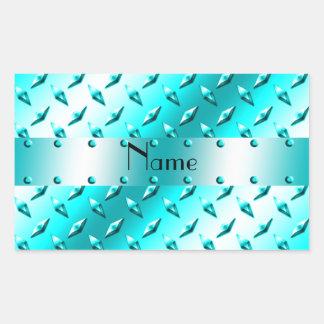 Acero azul de neón conocido personalizado de la pegatina rectangular