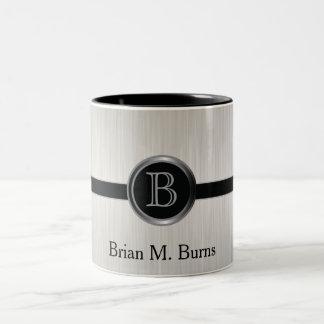 Acero blanco ejecutivo del cepillo del diseño el | taza de café de dos colores