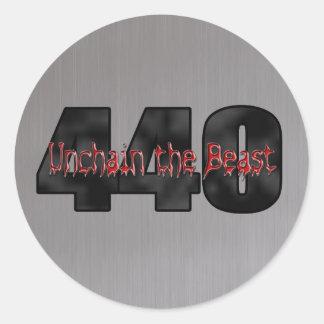 Acero cepillado bestia de 440 Mopar Etiquetas Redondas