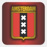 Acero de Amsterdam (bandera) Calcomanía Cuadradas