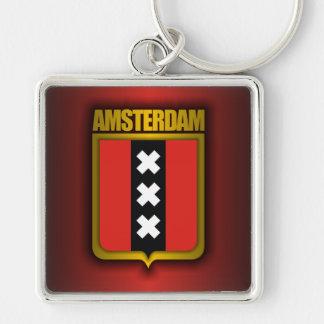 Acero de Amsterdam (bandera) Llavero Cuadrado Plateado