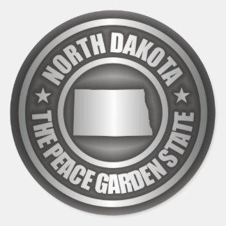 Acero de Dakota del Norte Pegatina Redonda