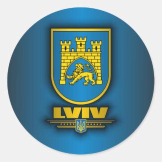 Acero de Lviv Pegatina Redonda