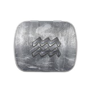 Acero de plata apenado Grunge del zodiaco del Frascos De Dulces