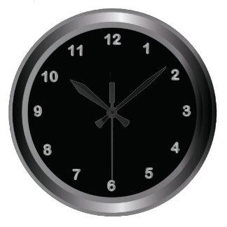 Acero industrial del metal e impresión negra reloj redondo grande