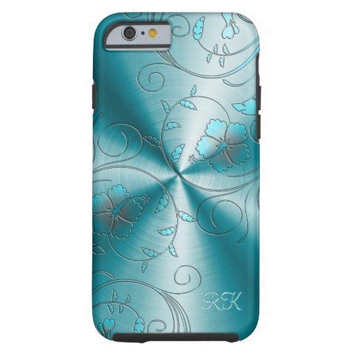 Acero inoxidable azul con las flores retras funda de iPhone 6 tough