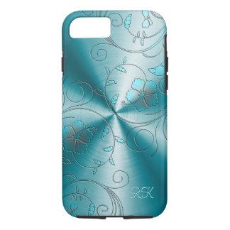 Acero inoxidable azul con las flores retras funda iPhone 7