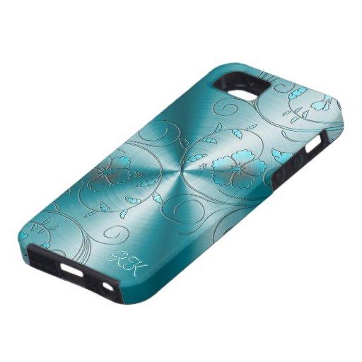 Acero inoxidable azul con las flores retras grabad iPhone 5 carcasas