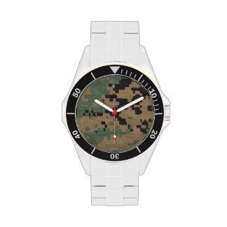 Acero inoxidable clásico con la cara del arbolado relojes de pulsera