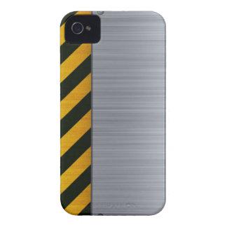 Acero inoxidable con las rayas del peligro funda para iPhone 4