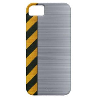Acero inoxidable con las rayas del peligro funda para iPhone SE/5/5s
