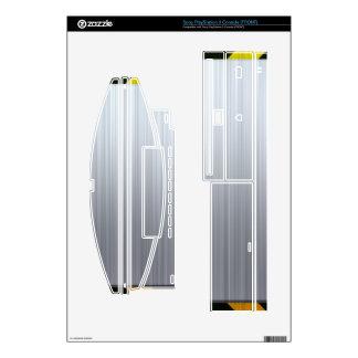 Acero inoxidable con las rayas del peligro calcomanías para consola PS3