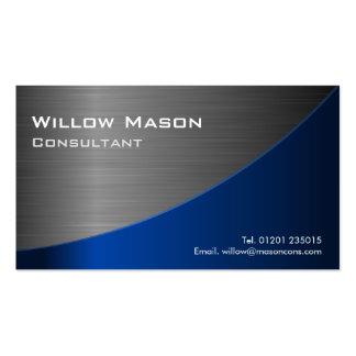Acero inoxidable negro y azul curvado, tarjeta de tarjetas de visita