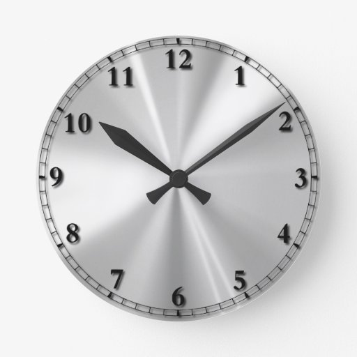 Acero inoxidable reloj redondo mediano