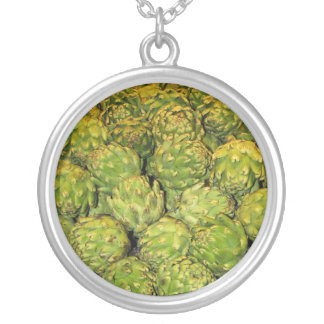 Ace's Artichokes Round Pendant Necklace