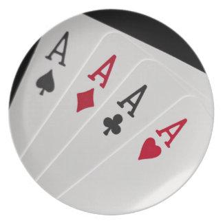 Aces Four of a Kind Melamine Plate