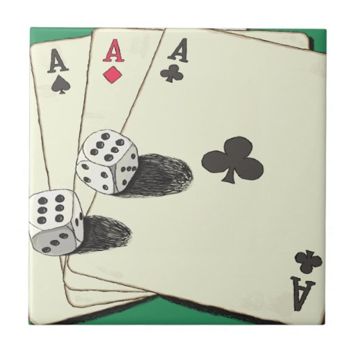 Aces High Small Square Tile