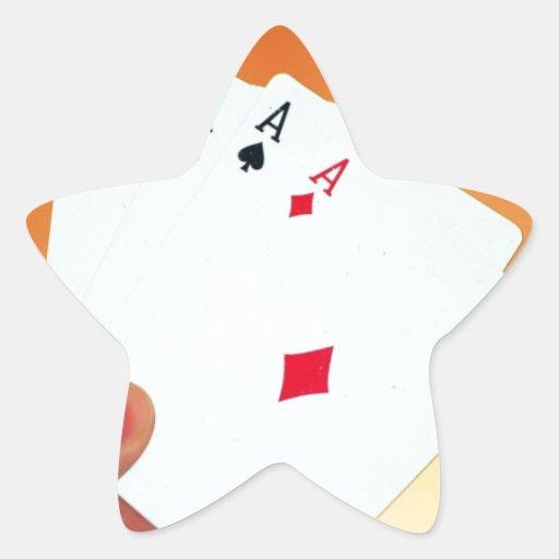Aces-in-hand1892 CARDA los JUEGOS de JUEGO del Pegatina En Forma De Estrella