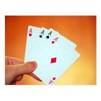 Aces-in-hand1892 CARDA los JUEGOS de JUEGO del PÓK Postales