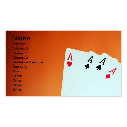 Aces-in-hand1892 CARDS ACES POKER GAMBLING GAMES P Double-Sided Standard Business Cards (Pack Of 100)