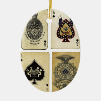 aces of spades vintage ceramic ornament
