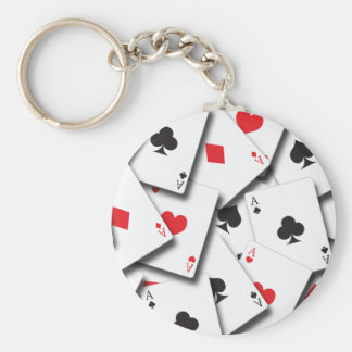 ACES PLAYING CARDS BASIC ROUND BUTTON KEYCHAIN