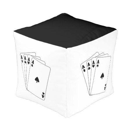 Aces Poker Hand Cube Pouf
