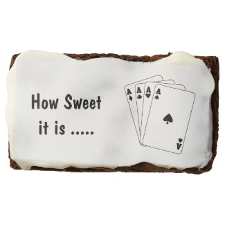 Aces Poker Hand Rectangular Brownie