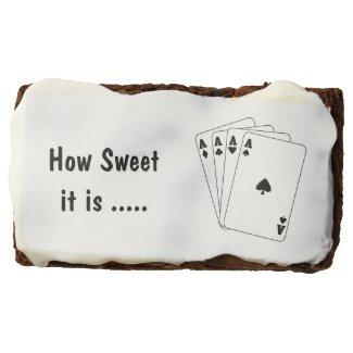 Aces Poker Hand Rectangular Brownie