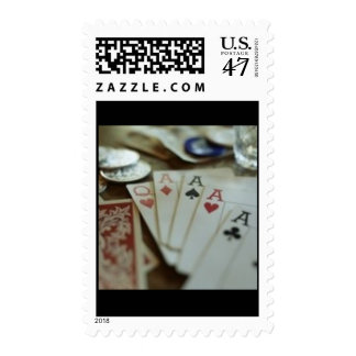 Aces & Queen Postage Stamp