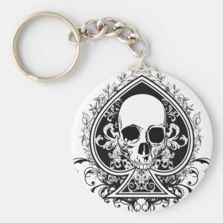 Aces Skull Basic Round Button Keychain