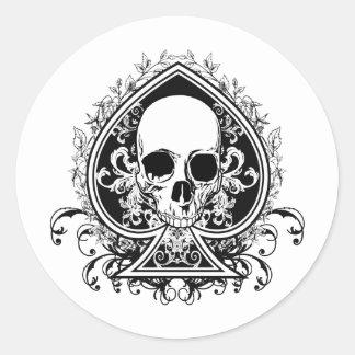 Aces Skull Classic Round Sticker
