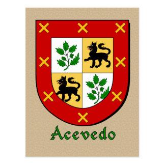 Acevedo Ancestral Heraldic Shield Postcard
