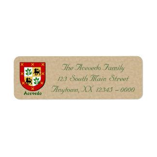 Acevedo Family Heraldic Shield Label