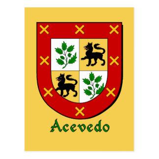 Acevedo Family Heraldic Shield Postcard