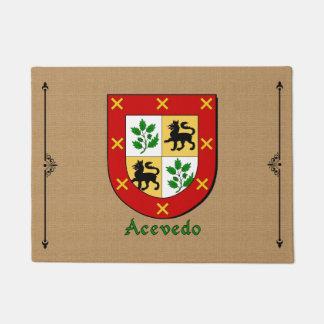 Acevedo Historical Shield on Burlap Background Doormat
